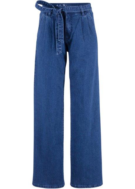 Stretch-Jeans im Bootcut-Style Marlene mit Kontrast-Nähten und Gürtel in schwarz