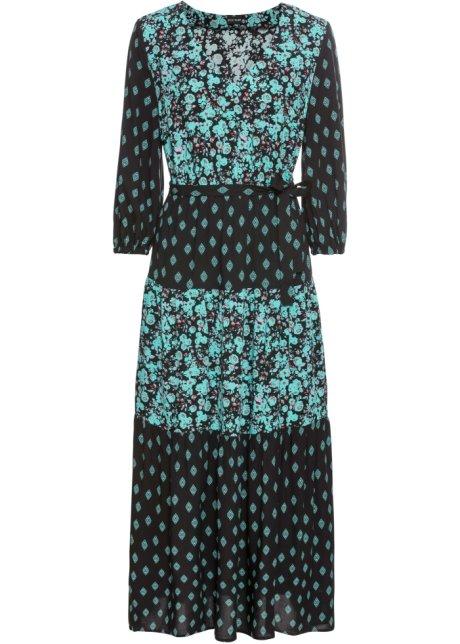 Wunderschönes Kleid Mit 34 ärmeln Schwarz Bedruckt