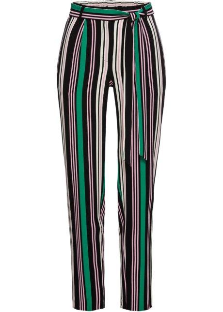 cb7d5bbfd3 Legere Hose mit Bindeband - rosa/grün/schwarz Blockstreifen