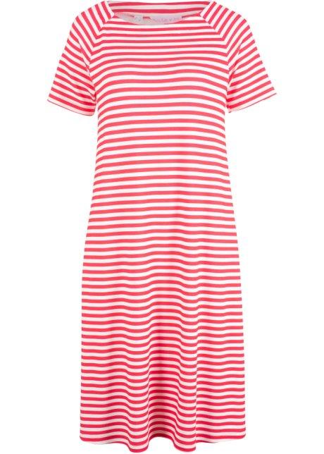 d8fe610e0e3022 Kaschierendes Kleid in A- Form und halbem Arm - hibiskuspink/weiß