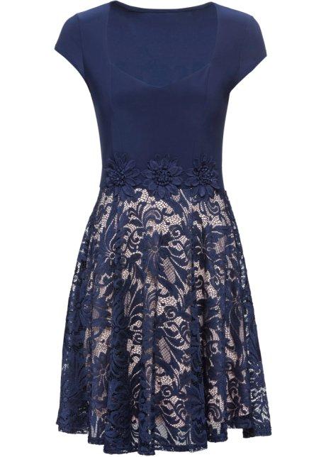 Festliches Kleid Mit Blumenverzierungen Mitternachtsblau Nude