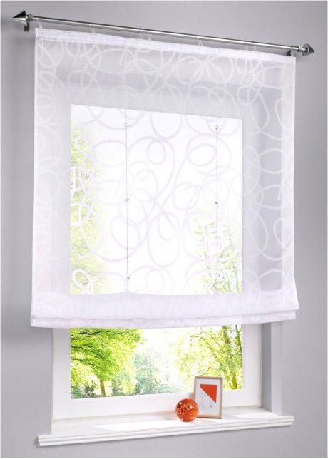 80cm 120cm Raffrollo mit Schlaufen transparent  weiß  Breite 100cm
