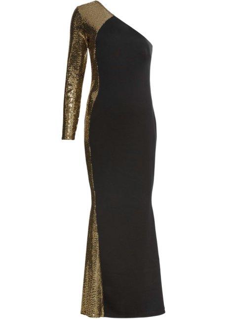 elegant und anmutig neuartiges Design süß billig One-Shoulder-Kleid mit goldenen Applikationen