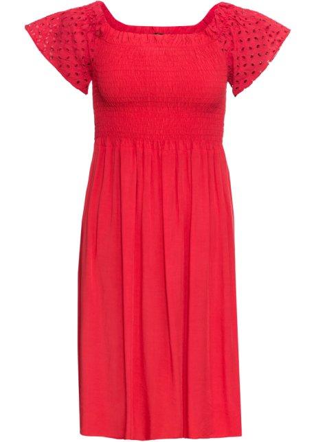 Kleid Mit An Gesmoktes Den Lochstickerei Ärmeln xerBodC