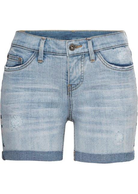 841f9a20360386 Moderne Jeans-Hotpants mit Stickerei an der Seite und Destroyed ...