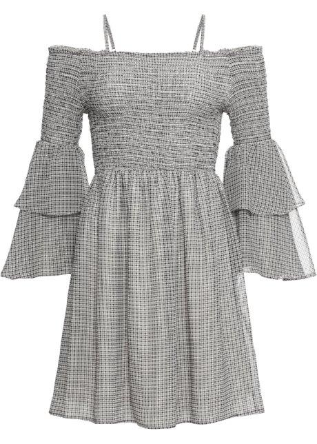 d284561c7ca0a4 Zauberhaft gesmoktes Kleid mit Cold-Shoulder-Effekt und Volantärmeln ...