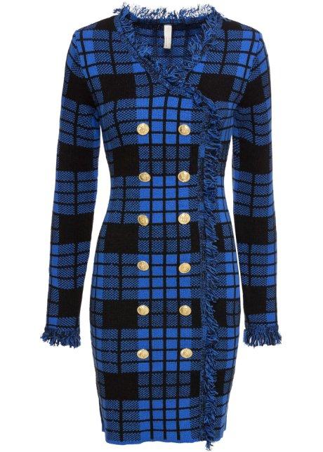 Ausgefallenes Mantel Kleid Mit Doppelreihigen Knopfen In Goldoptik Blau Schwarz Kariert