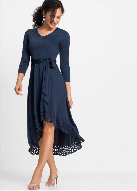 Vokuhila-Kleid mit Laser-Cut 25-372 in Schwarz 48//50