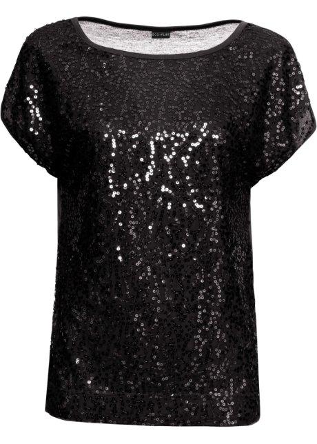 Shirt Damen Top T-Shirt Fledermaus Pailetten 34 36 38 40 S M