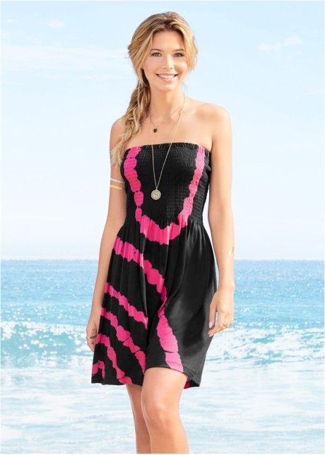 Trendiges Bandeau Strandkleid Im Batik Look Schwarz Pink