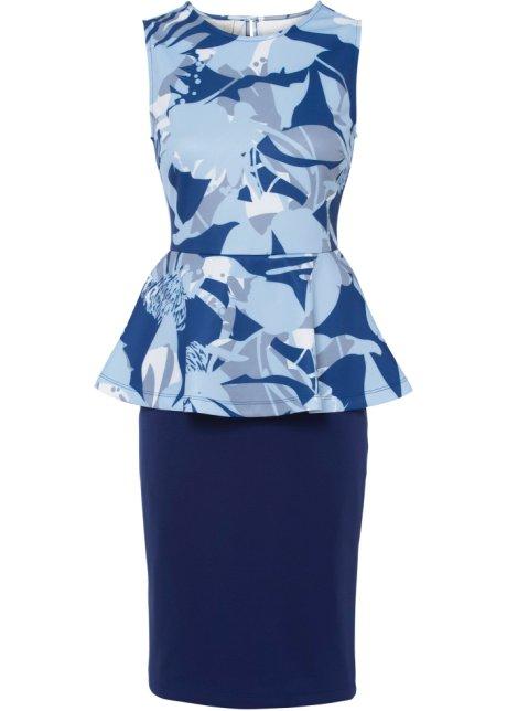 Feminines Kleid Mit Schosschen Dunkelblau Hellblau Floral
