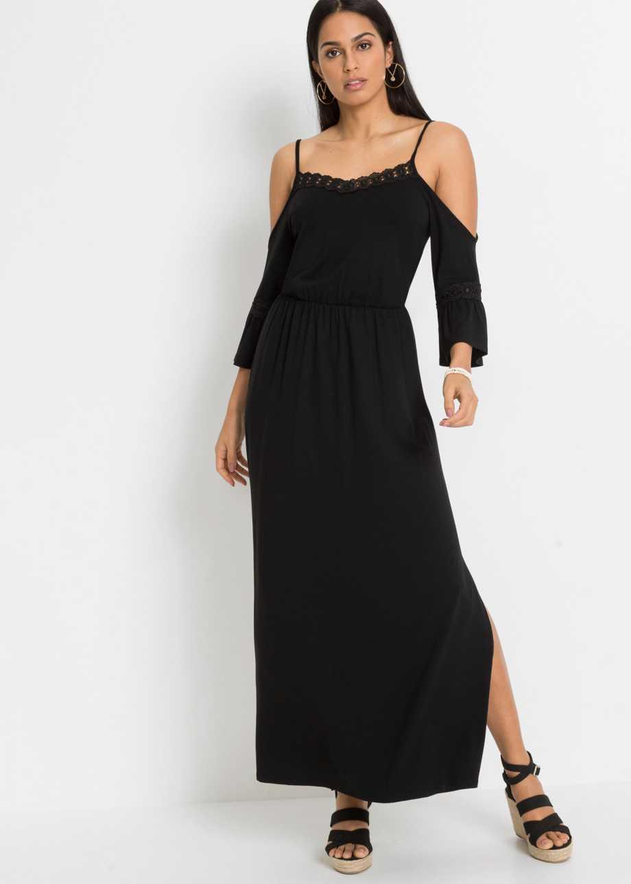 Modernes langes Kleid mit hochwertiger Spitze und