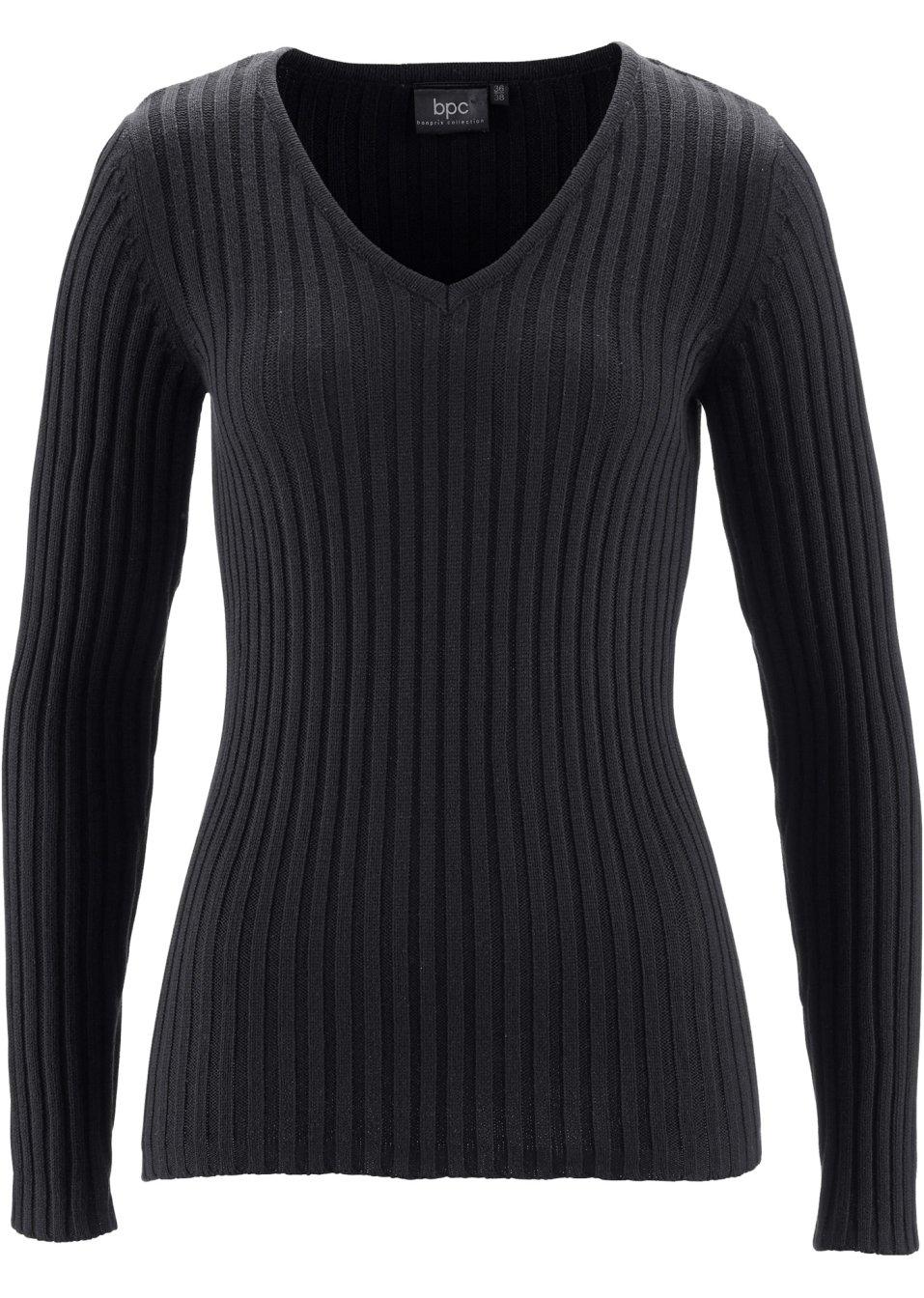 Attraktiver Rippstrick-Pullover mit V-Ausschnitt - schwarz 4bl1q hPqby