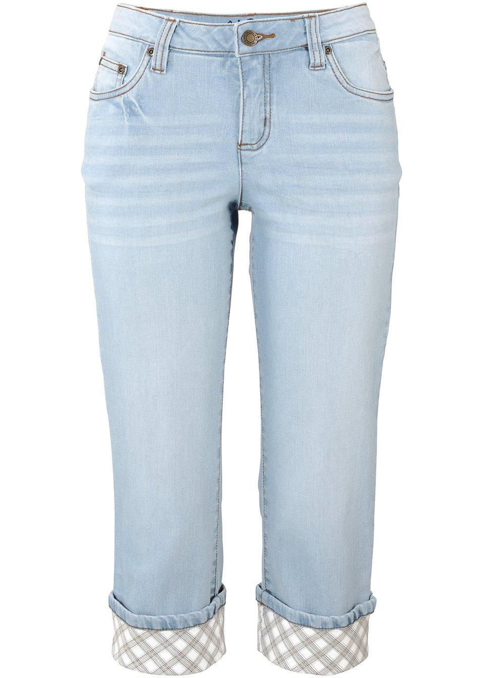 Capri-Jeans im Used-Look für sportliche Outfits - hellblau/kariert Normal Zc8D1 oyCJn