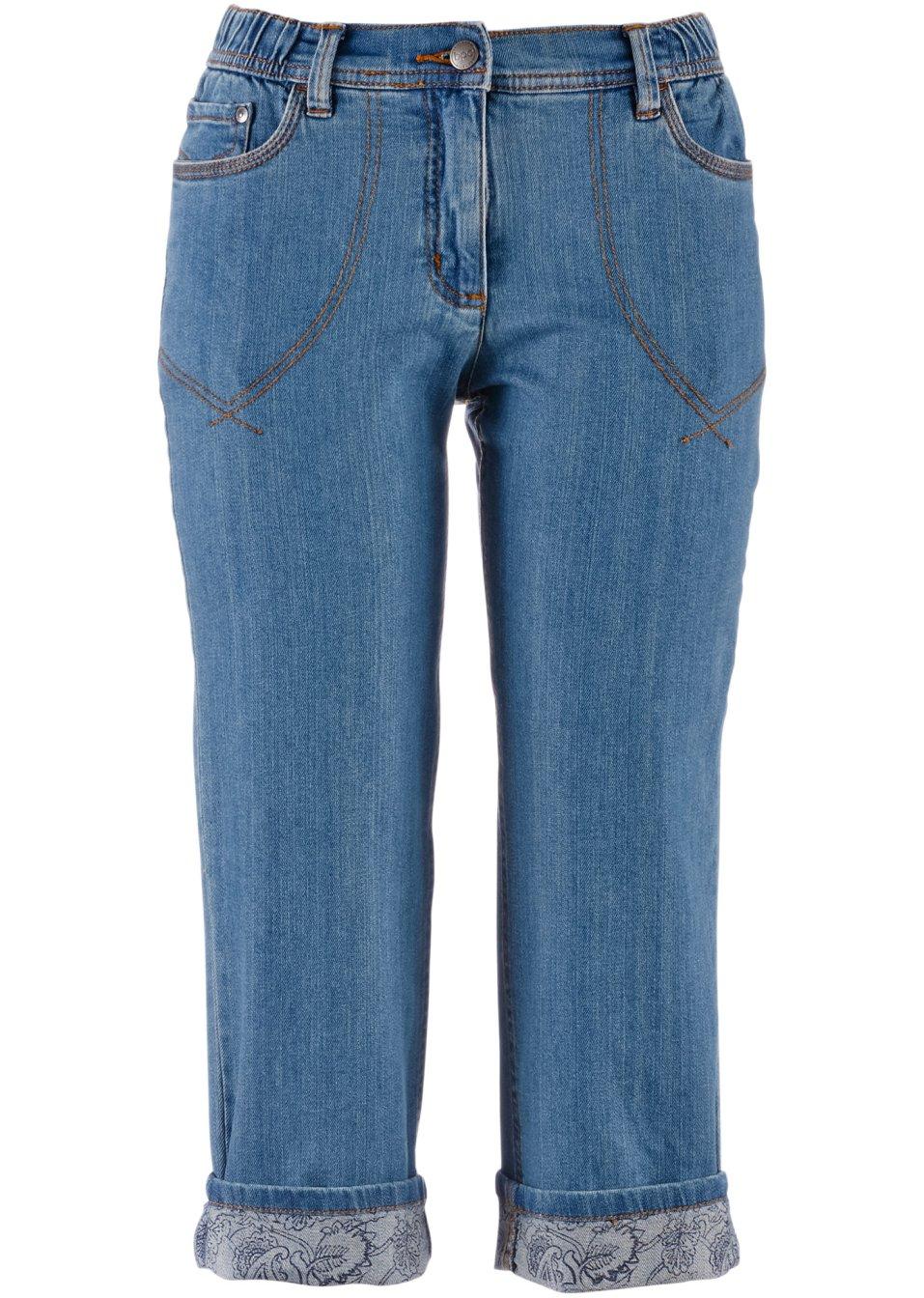 Attraktive Jeanshose mit Gürtelschlaufen und bedrucktem Umschlag - medium blue bleached g2kzr wPZFN