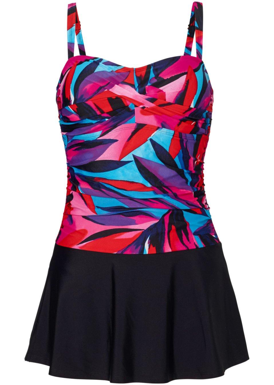 Ansprechendes Badekleid mit integriertem Innenslip - schwarz/pink F5bX6 kmK8l