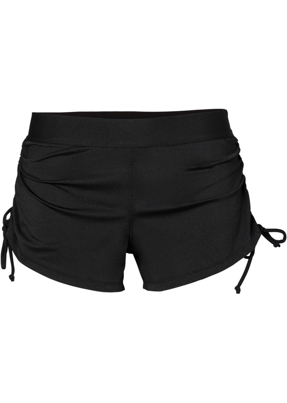 Sportlich kurze Bikinishorts mit flexiblem Bund und seitlichen Bindebändern - schwarz s1ftS B48B1