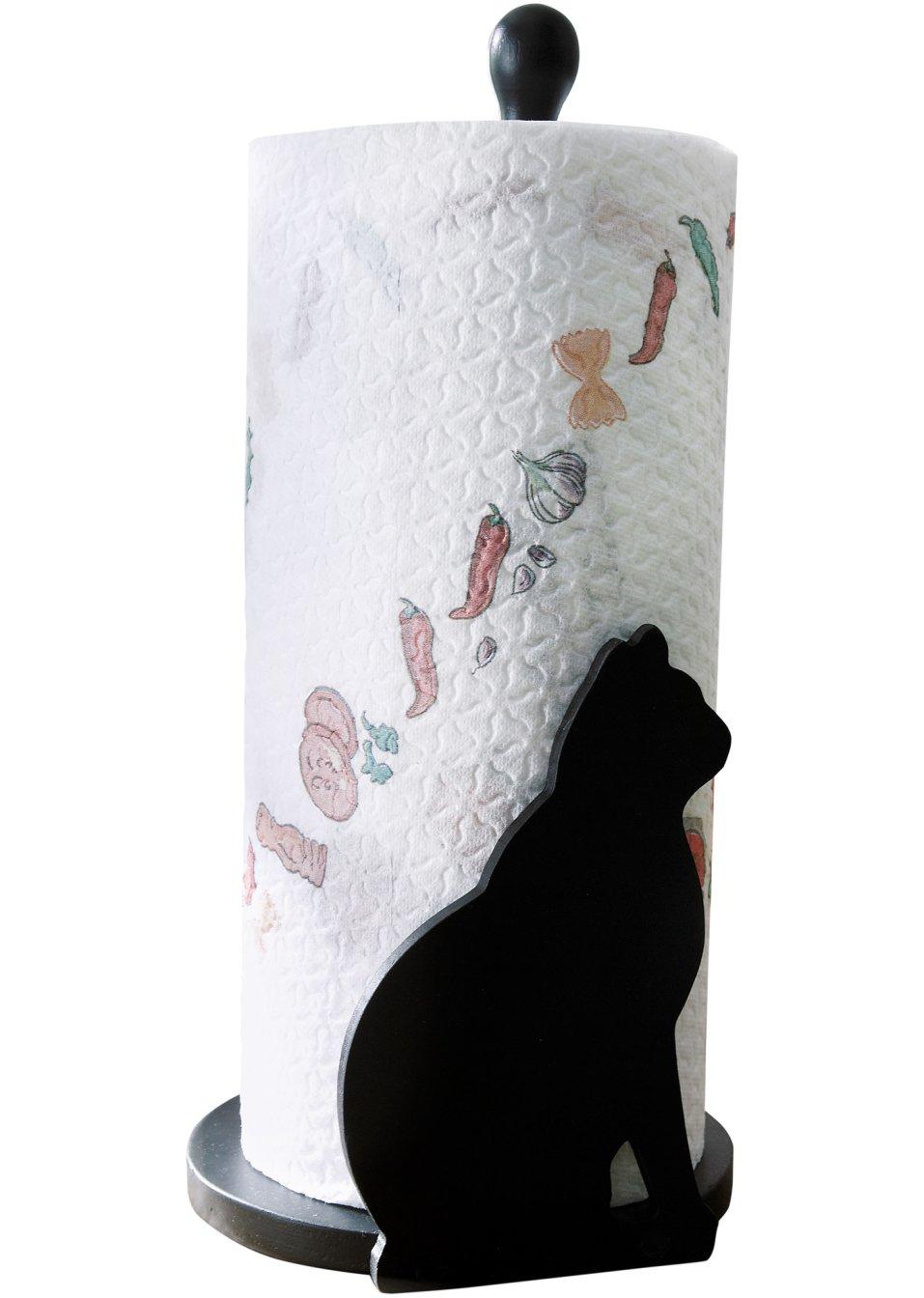 kuechenrollenhalter katze aus lackiertem holz schwarz
