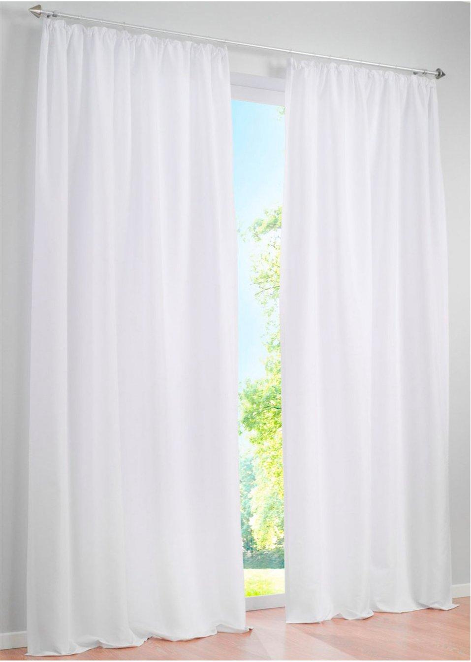 einfach sch n unifarbener vorhang zur dezenten gestaltung ihres wohnraums reinweiss. Black Bedroom Furniture Sets. Home Design Ideas