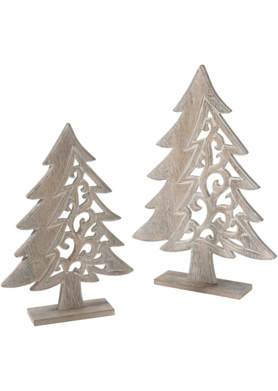 Holz Tannenbaum Groß.Weihnachtsdeko Tannenbaum Aus Holz 2 Tlg Set