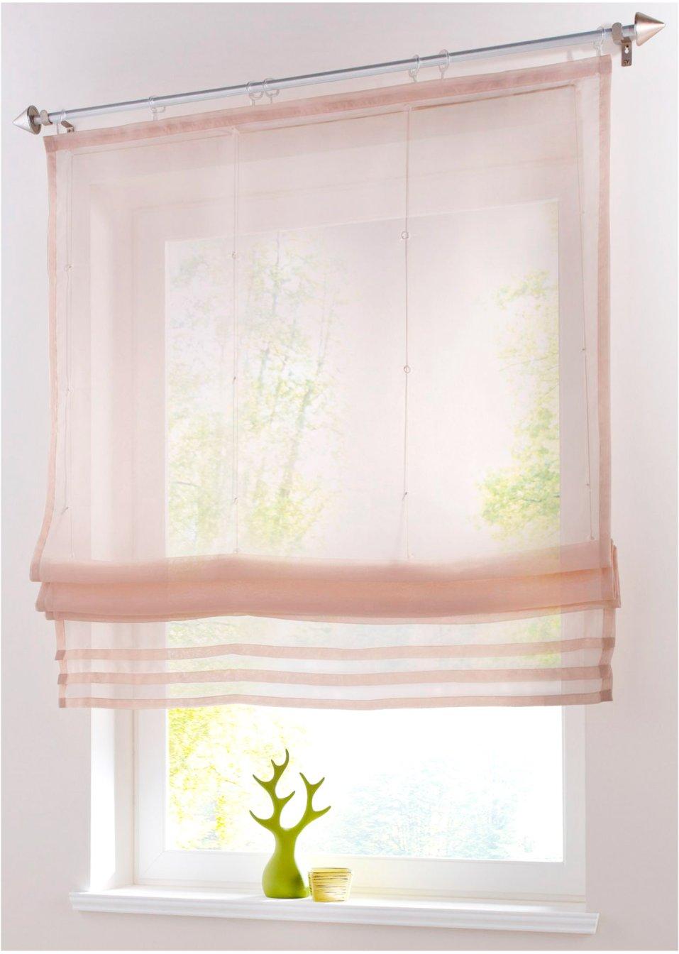 eine hauchzarte idee f r ihr fenster das luftig leichte raffrollo lea sand klettschiene. Black Bedroom Furniture Sets. Home Design Ideas