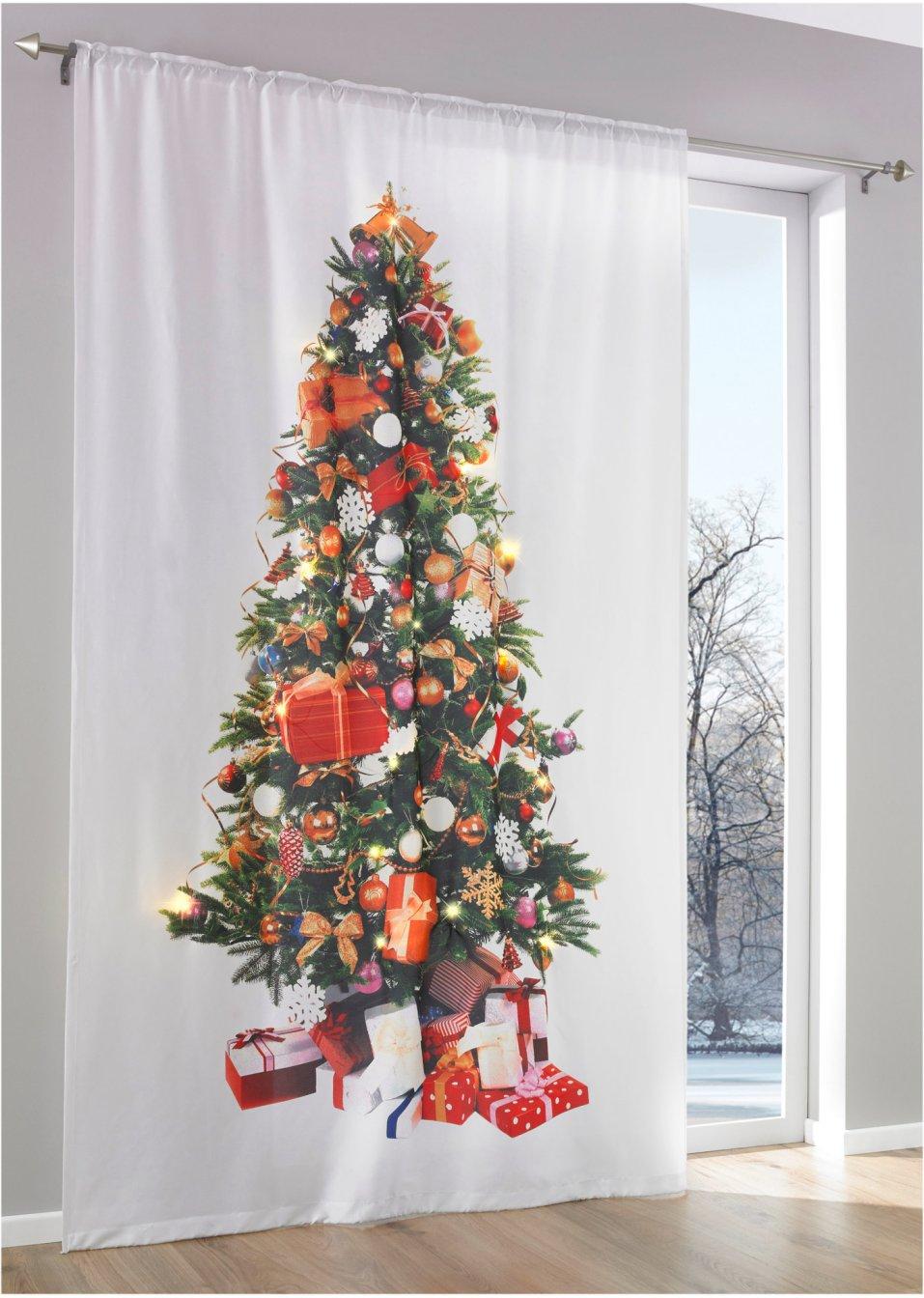 weihnachts vorhang mit led wei bunt tunnelzug. Black Bedroom Furniture Sets. Home Design Ideas
