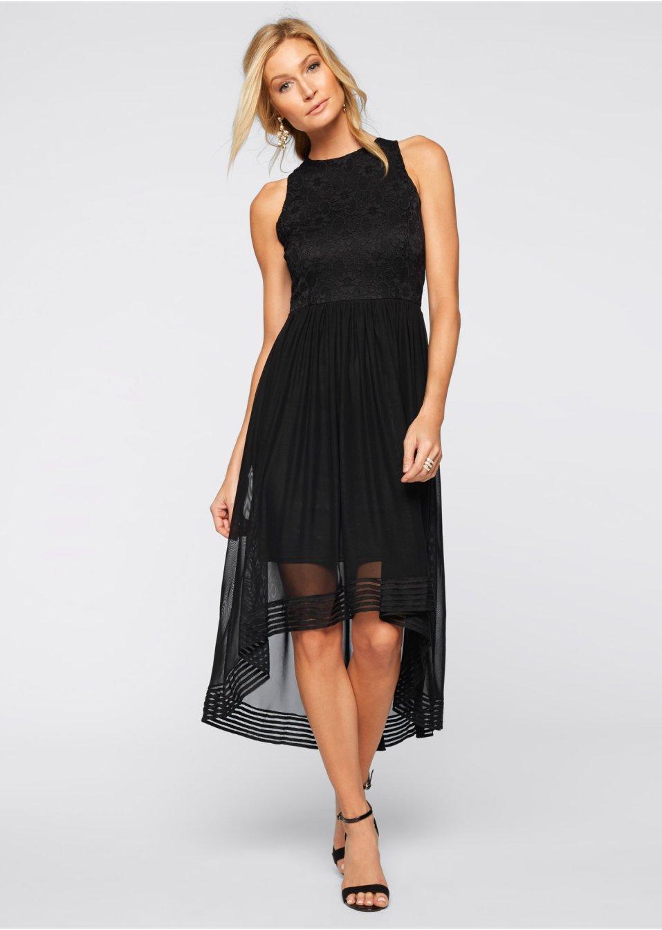 8352b9f5f71f6a Schickes Kleid mit floralem Spitzenmuster - schwarz