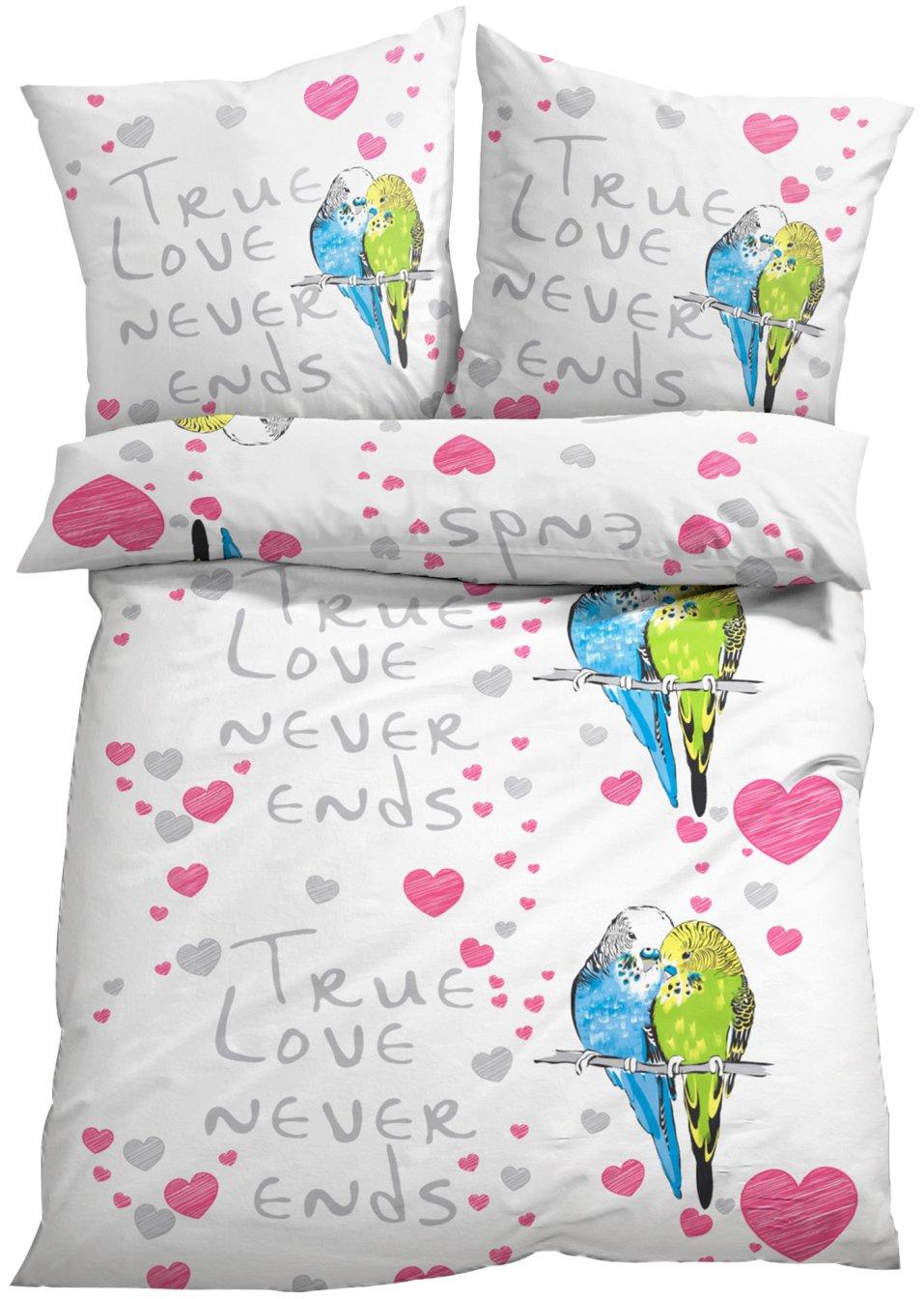 farbenfroh und hautfreundlich bettw sche vogel mit schriftzug bunt linon. Black Bedroom Furniture Sets. Home Design Ideas