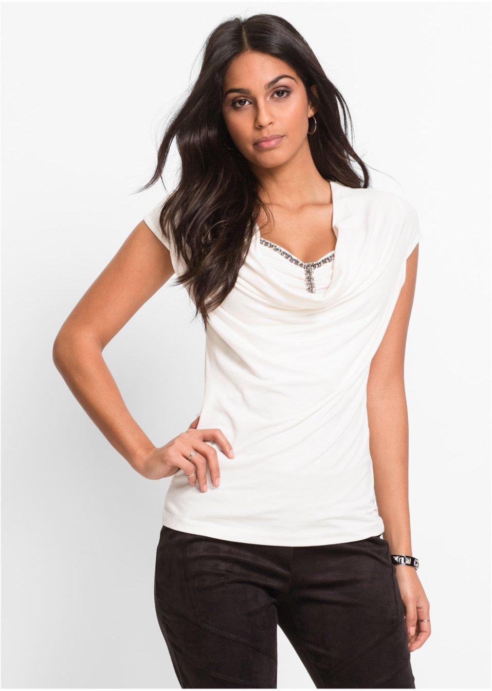 dbd86abbe86e Feminines Kurzarmshirt mit Detail am Ausschnitt - abendrot