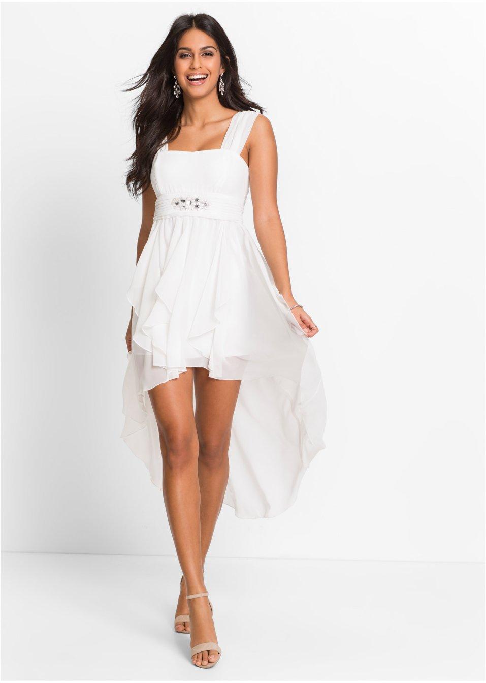 45ec188616da Geschmackvolles Kleid mit Schmucksteinen - wollweiß