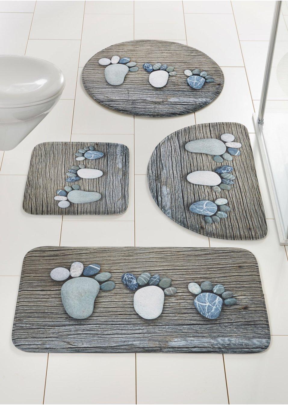 niedliche badematte footprint mit memory schaum blau. Black Bedroom Furniture Sets. Home Design Ideas