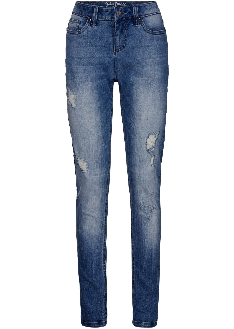 Lässige Basic-Jeans im Used-Look - mittelblau Normal cOb34 91tmO