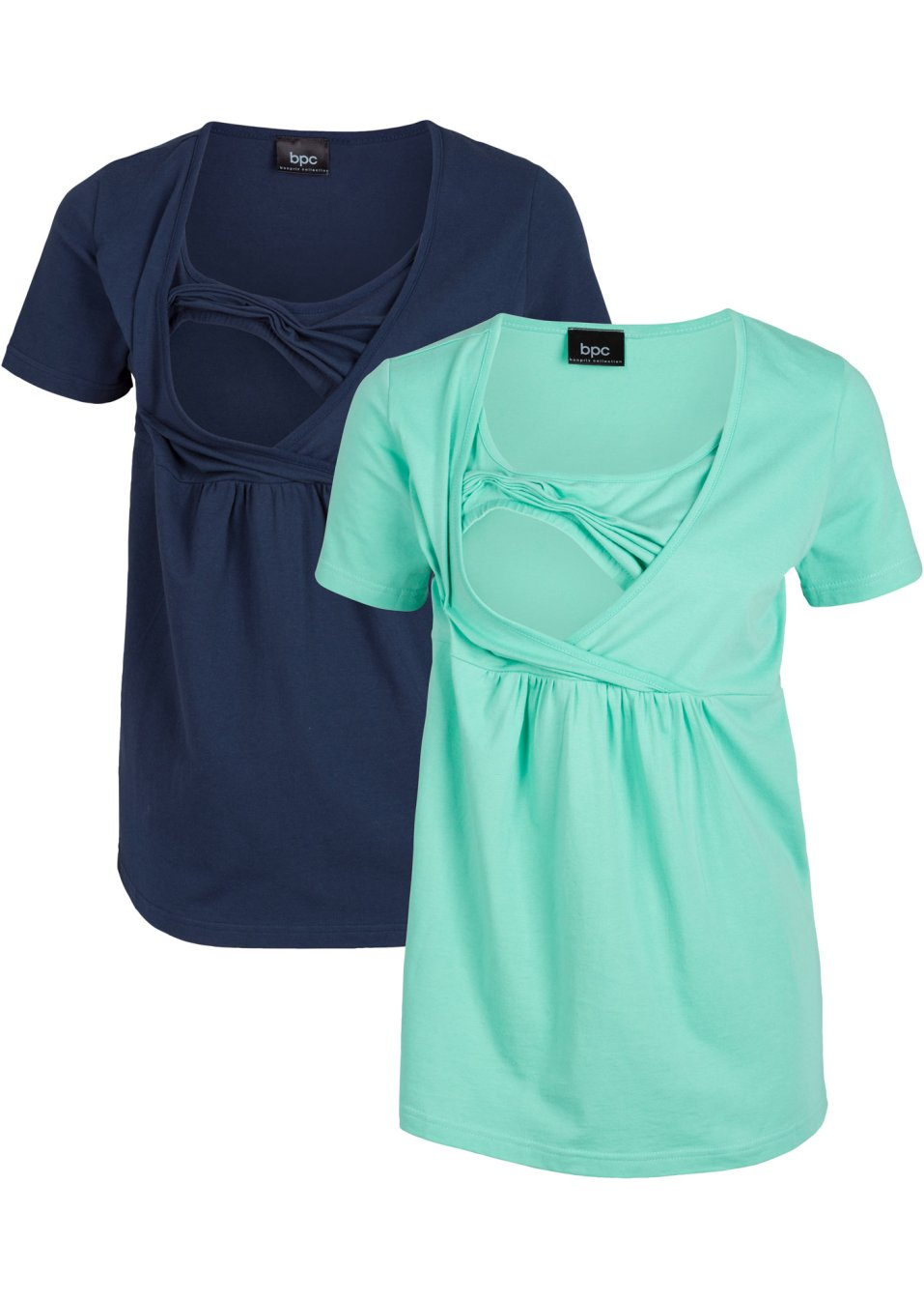 Praktisches und komfortables Umstands- und Stillshirt - dunkelblau+mentholblau PecE4 Kj9H0
