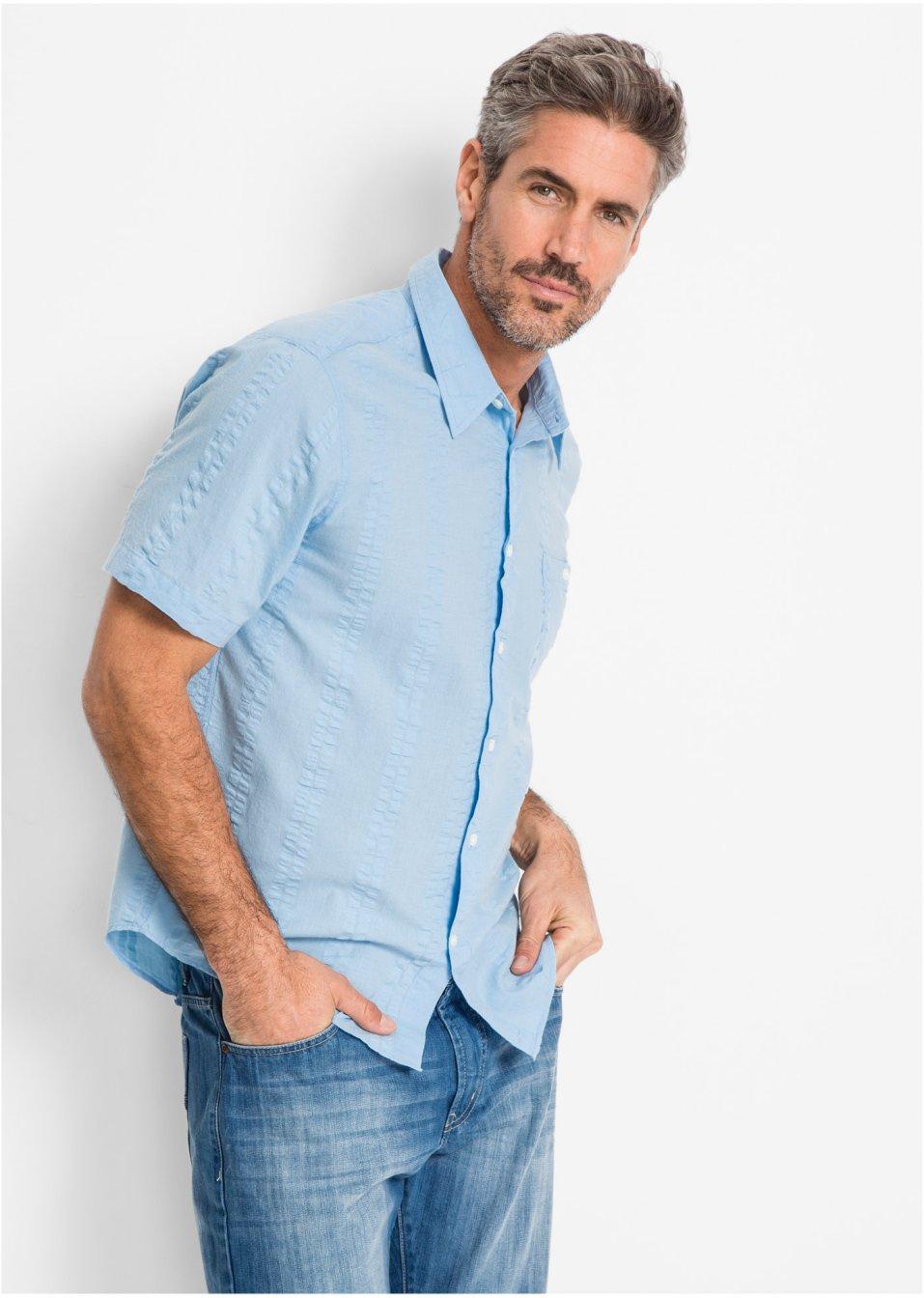 Sommerliches seersucker kurzarmhemd mit brusttasche hellblau - Bonprix herrenhemden ...