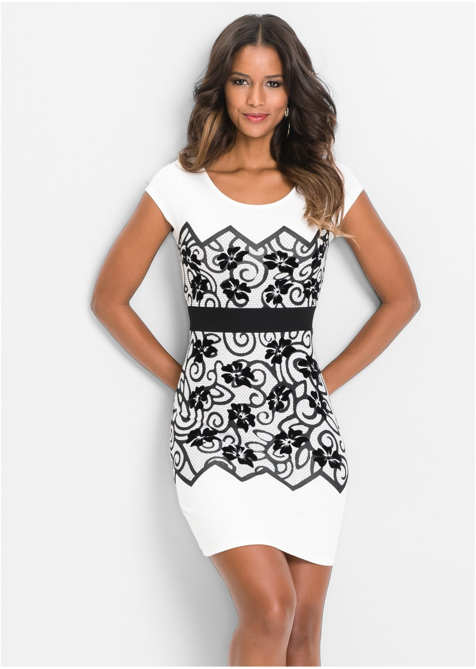 Kleid mit floralem Print cremeweiss - BODYFLIRT boutique ...