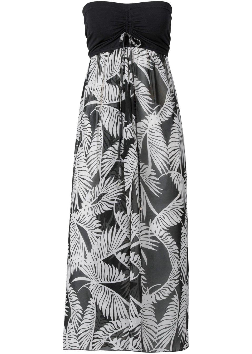 Apartes Strandkleid mit Bandeau-Top - schwarz/weiß 1U7U3 DFm9v