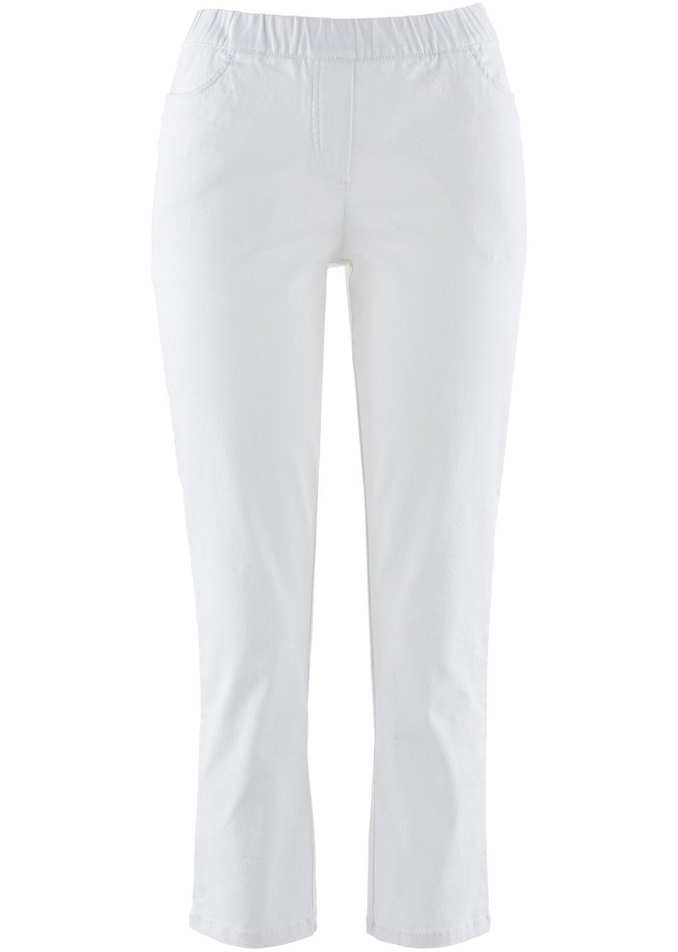 Stilvolle 7/8-Schlupfhose mit Taschen und Gummibund - weiß 0NNmf gBVwq