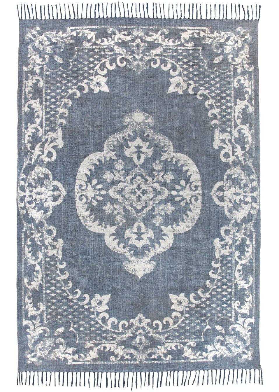 von hand gewebter teppich indra mit fransen blau. Black Bedroom Furniture Sets. Home Design Ideas