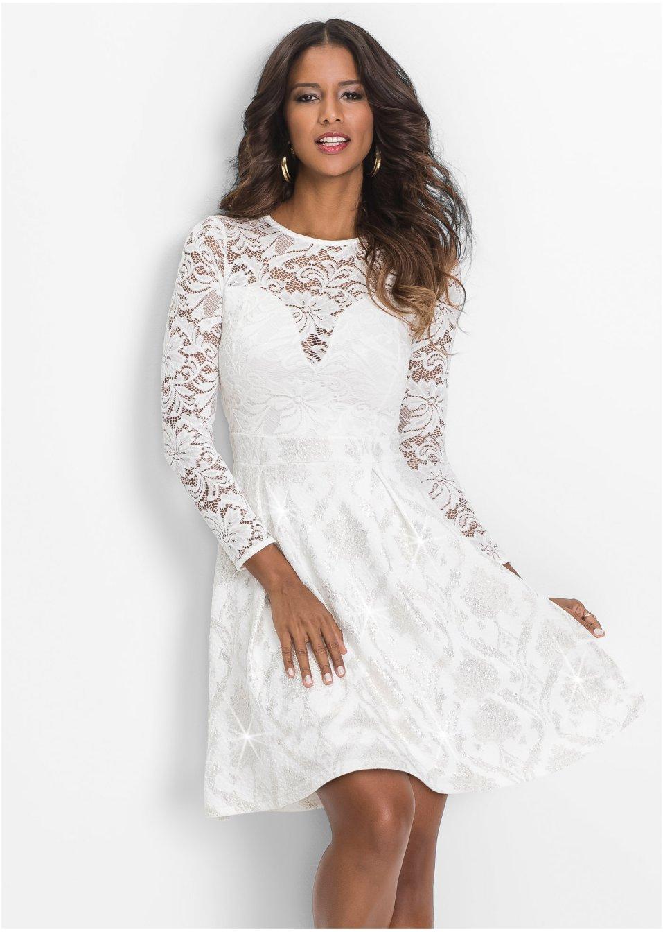 Kleid mit Spitze weiß - BODYFLIRT boutique online kaufen ...