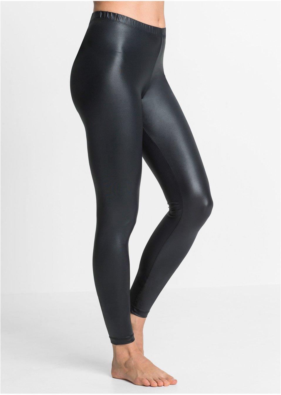Modische Leggings Mit Leichtem Glanzeffekt Schwarz