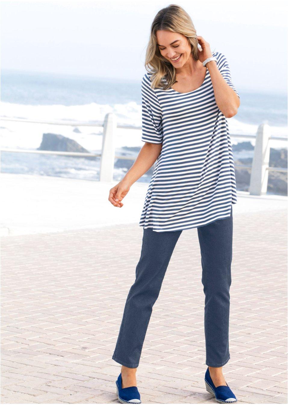 e8d72d1031d7d Weit geschnittene Shirt-Tunika in A-Linie - koralle/wollweiß gestreift