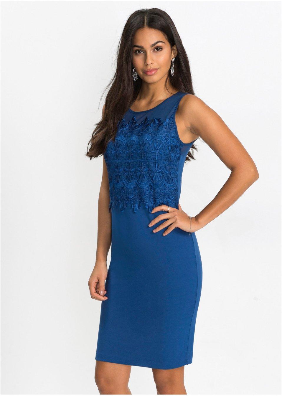 Kleid mit Spitze enzianblau - BODYFLIRT online kaufen ...