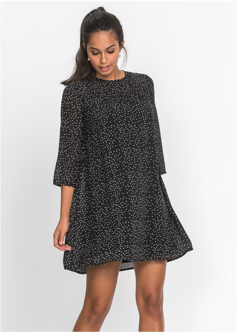 5ec85dadd750 Locker geschnittenes Chiffon-Kleid mit Rundhalsausschnitt - schwarz weiß  gepunktet