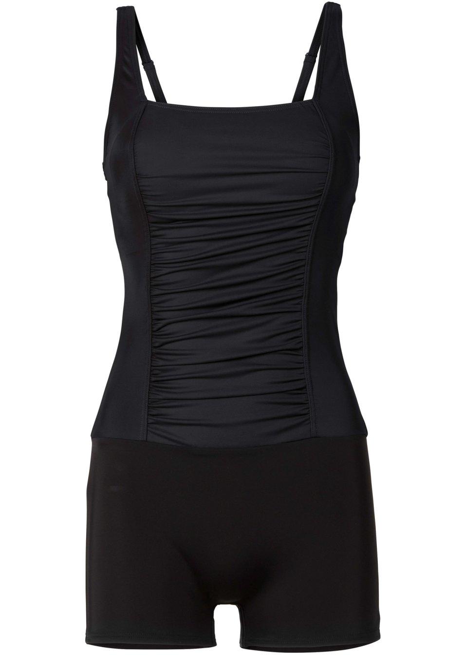 Geschmackvoller Badeanzug mit Bein und Raffung - schwarz 7PerW EarWS