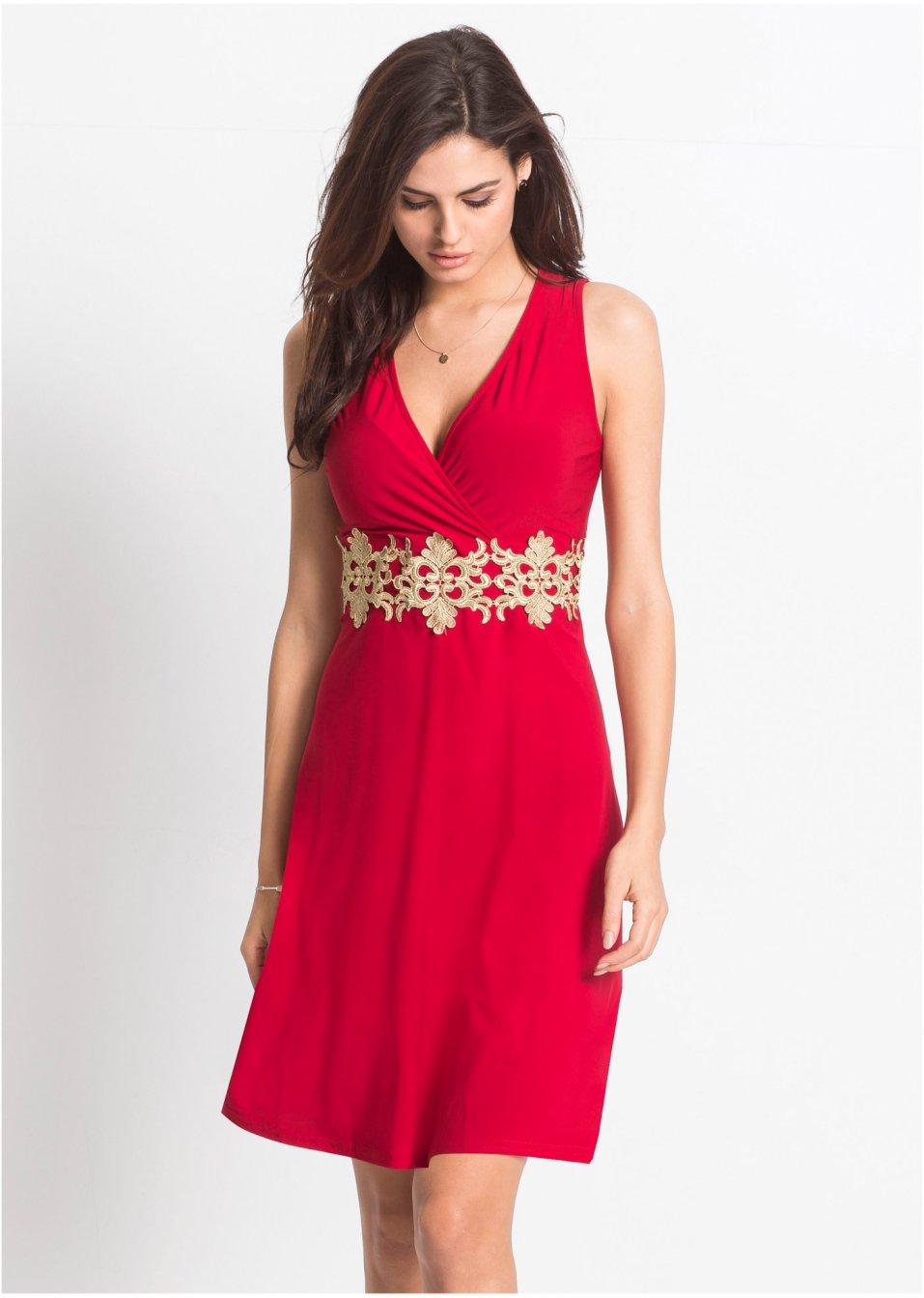 Sehr feminines Kleid mit kontrastfarbiger Spitze - rot