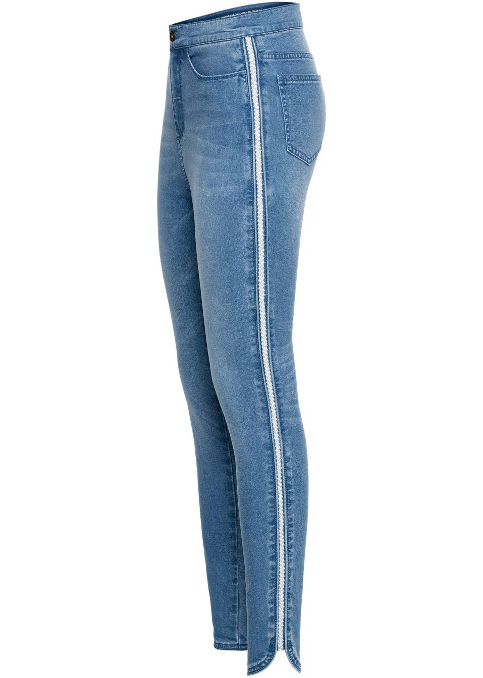 Angesagte Super-Skinny-Jeans mit glitzerndem Seitenstreifen - blue bleached c4IqH LY32U