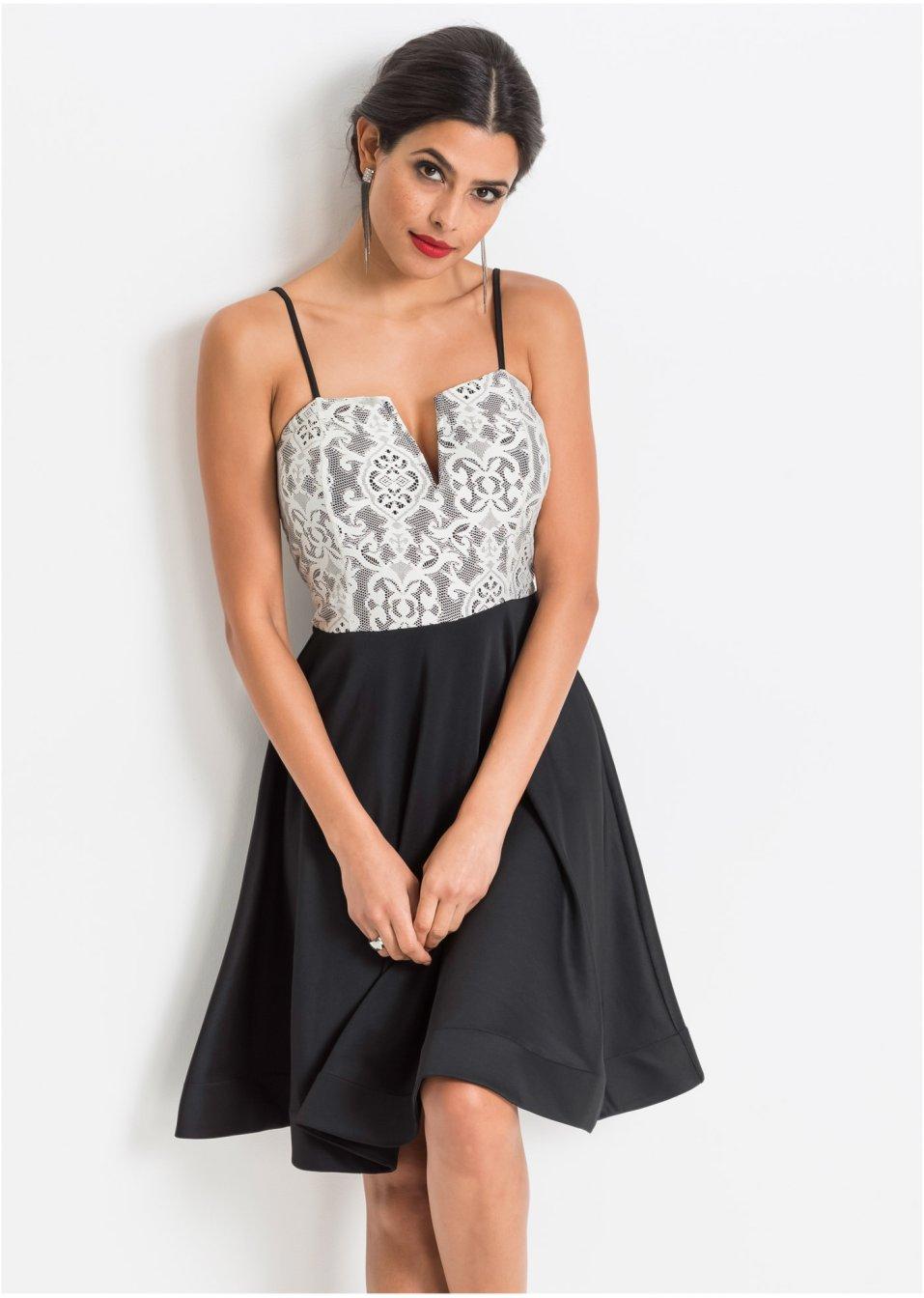 kurzes Kleid schwarz/cremeweiss - Damen - bonprix.de