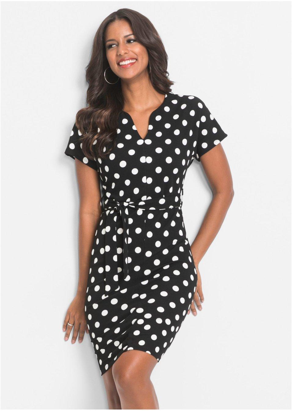 Kleid mit Punkten schwarz/weiß gepunktet - Damen ...