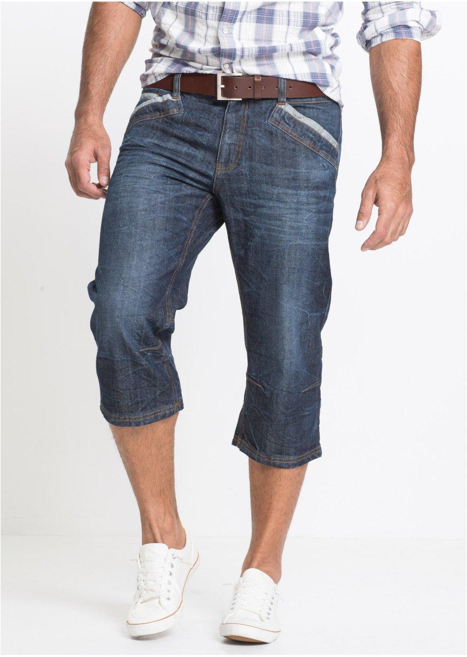Markante Jeans in 3 4-Länge und Knitteroptik mit Kontrasteinsätzen -  dunkelblau used, N-Größe e515a0ce67
