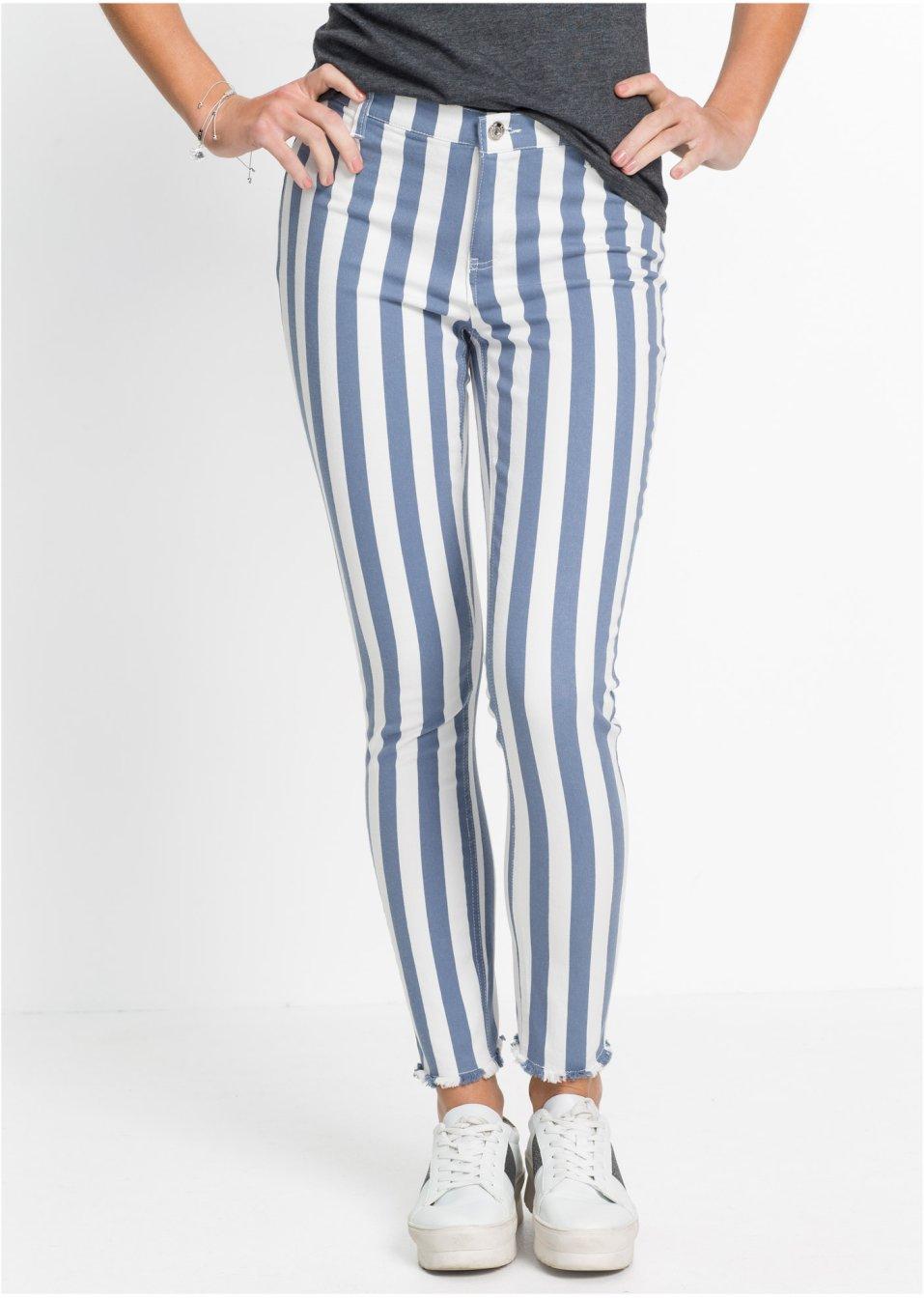 Trendige Hose mit Fransensaum - weiß/blau gestreift
